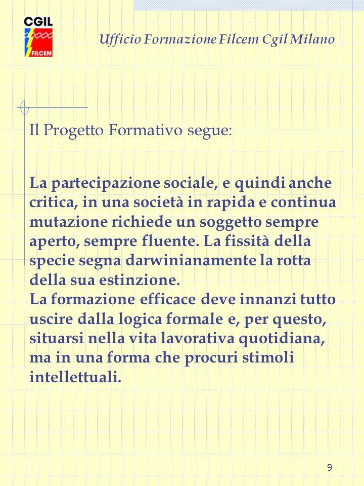 9 Ufficio Formazione Filcem Cgil Milano La partecipazione sociale, e quindi anche critica, in una società in rapida e continua mutazione richiede un s