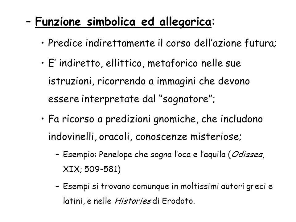 –Funzione simbolica ed allegorica: Predice indirettamente il corso dellazione futura; E indiretto, ellittico, metaforico nelle sue istruzioni, ricorre