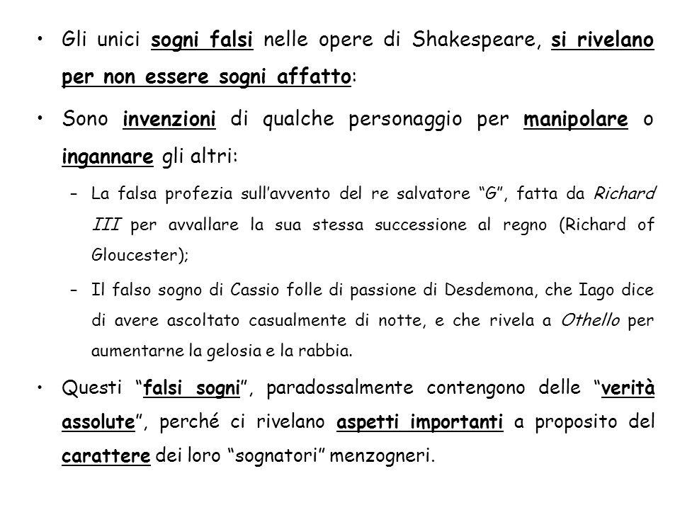 Gli unici sogni falsi nelle opere di Shakespeare, si rivelano per non essere sogni affatto: Sono invenzioni di qualche personaggio per manipolare o in