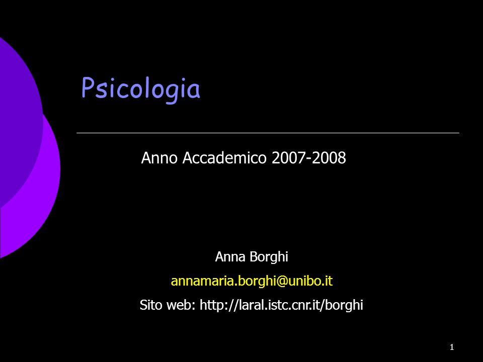 1 Psicologia Anno Accademico 2007-2008 Anna Borghi annamaria.borghi@unibo.it Sito web: http://laral.istc.cnr.it/borghi