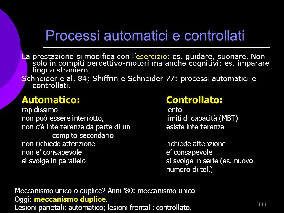 111 Processi automatici e controllati La prestazione si modifica con lesercizio: es. guidare, suonare. Non solo in compiti percettivo-motori ma anche