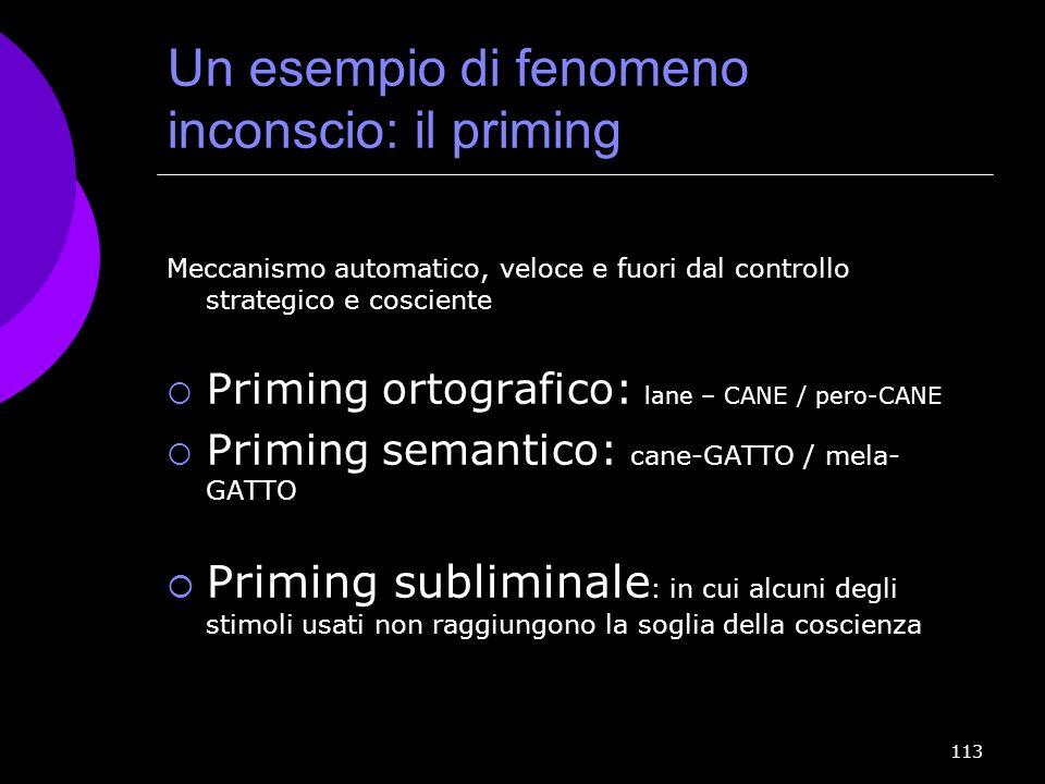 113 Un esempio di fenomeno inconscio: il priming Meccanismo automatico, veloce e fuori dal controllo strategico e cosciente Priming ortografico: lane