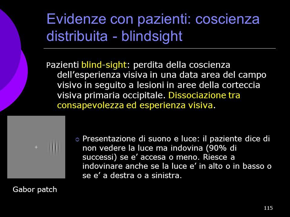 115 Evidenze con pazienti: coscienza distribuita - blindsight P azienti blind-sight: perdita della coscienza dellesperienza visiva in una data area de