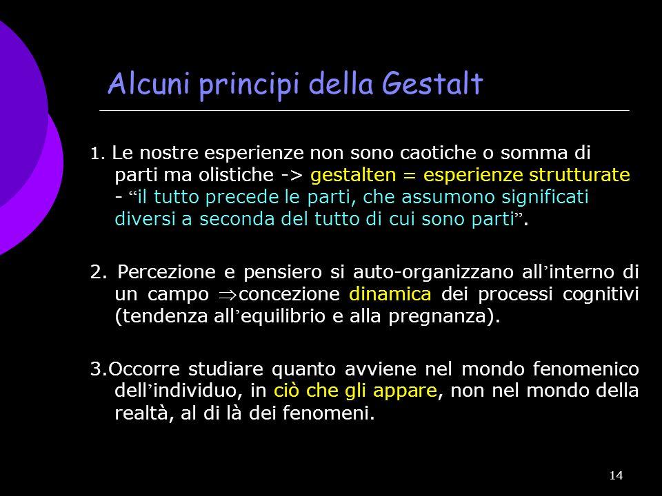 14 Alcuni principi della Gestalt 1. Le nostre esperienze non sono caotiche o somma di parti ma olistiche -> gestalten = esperienze strutturate - il tu