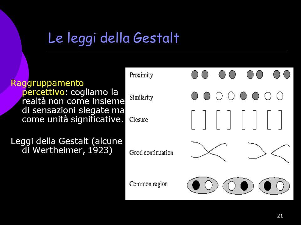 21 Le leggi della Gestalt Raggruppamento percettivo: cogliamo la realt à non come insieme di sensazioni slegate ma come unit à significative. Leggi de