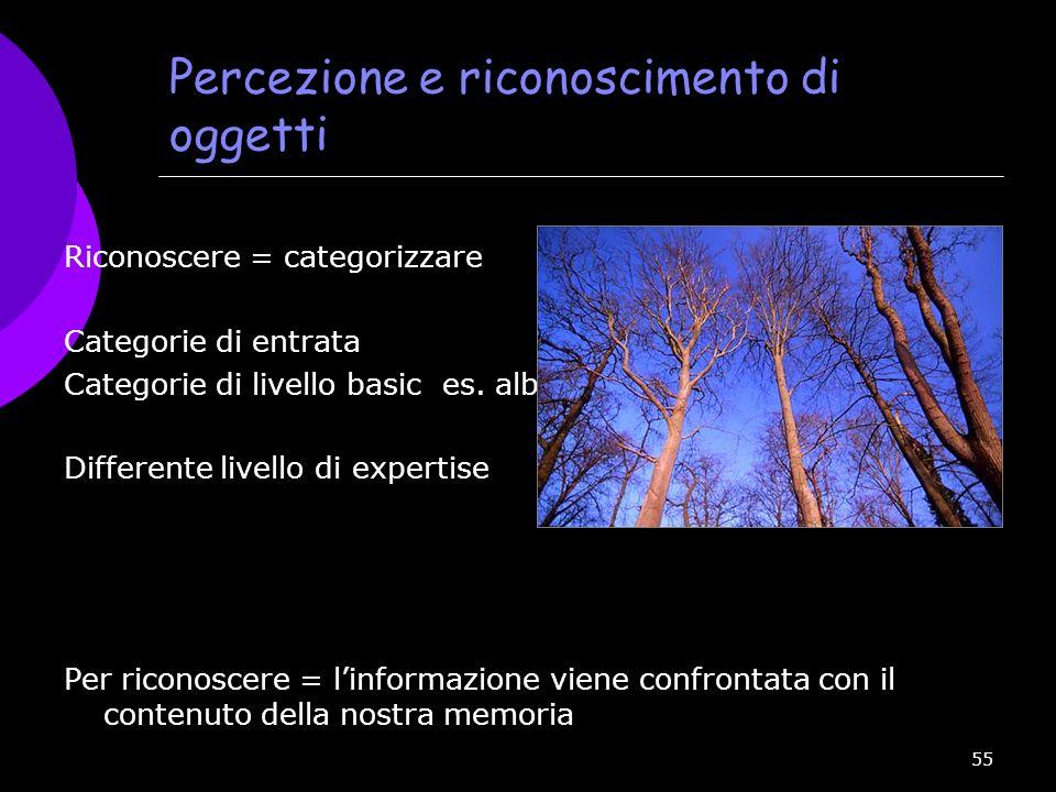 55 Percezione e riconoscimento di oggetti Riconoscere = categorizzare Categorie di entrata Categorie di livello basic es. albero Differente livello di