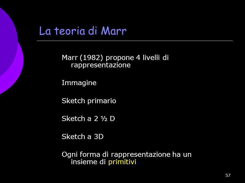 57 La teoria di Marr Marr (1982) propone 4 livelli di rappresentazione Immagine Sketch primario Sketch a 2 ½ D Sketch a 3D Ogni forma di rappresentazi