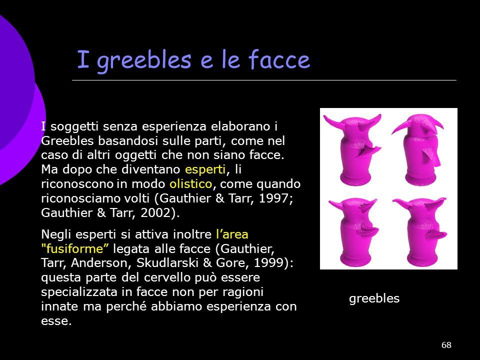 68 I greebles e le facce I soggetti senza esperienza elaborano i Greebles basandosi sulle parti, come nel caso di altri oggetti che non siano facce. M