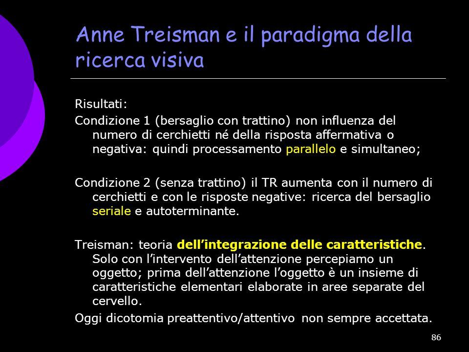 86 Anne Treisman e il paradigma della ricerca visiva Risultati: Condizione 1 (bersaglio con trattino) non influenza del numero di cerchietti n é della