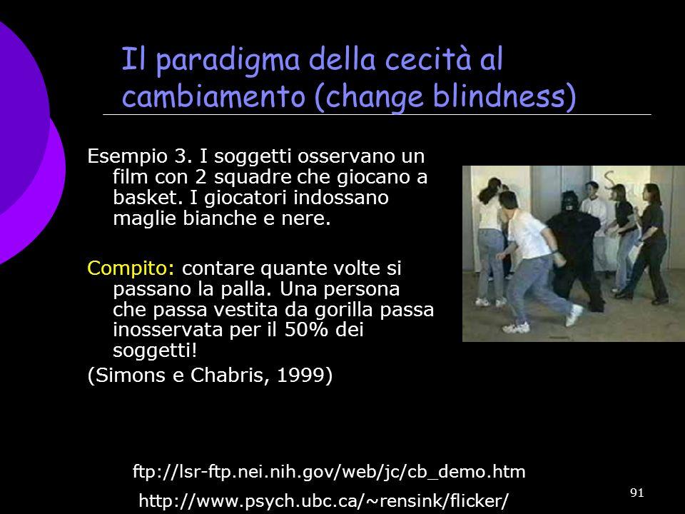 91 Il paradigma della cecità al cambiamento (change blindness) Esempio 3. I soggetti osservano un film con 2 squadre che giocano a basket. I giocatori