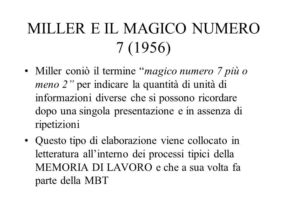 MILLER E IL MAGICO NUMERO 7 (1956) Miller coniò il termine magico numero 7 più o meno 2 per indicare la quantità di unità di informazioni diverse che si possono ricordare dopo una singola presentazione e in assenza di ripetizioni Questo tipo di elaborazione viene collocato in letteratura allinterno dei processi tipici della MEMORIA DI LAVORO e che a sua volta fa parte della MBT