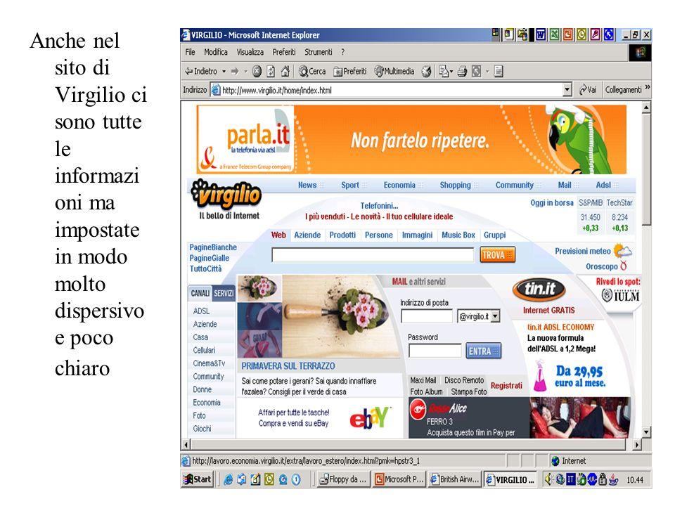Anche nel sito di Virgilio ci sono tutte le informazi oni ma impostate in modo molto dispersivo e poco chiaro