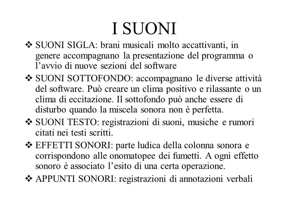 I SUONI SUONI SIGLA: brani musicali molto accattivanti, in genere accompagnano la presentazione del programma o lavvio di nuove sezioni del software SUONI SOTTOFONDO: accompagnano le diverse attività del software.