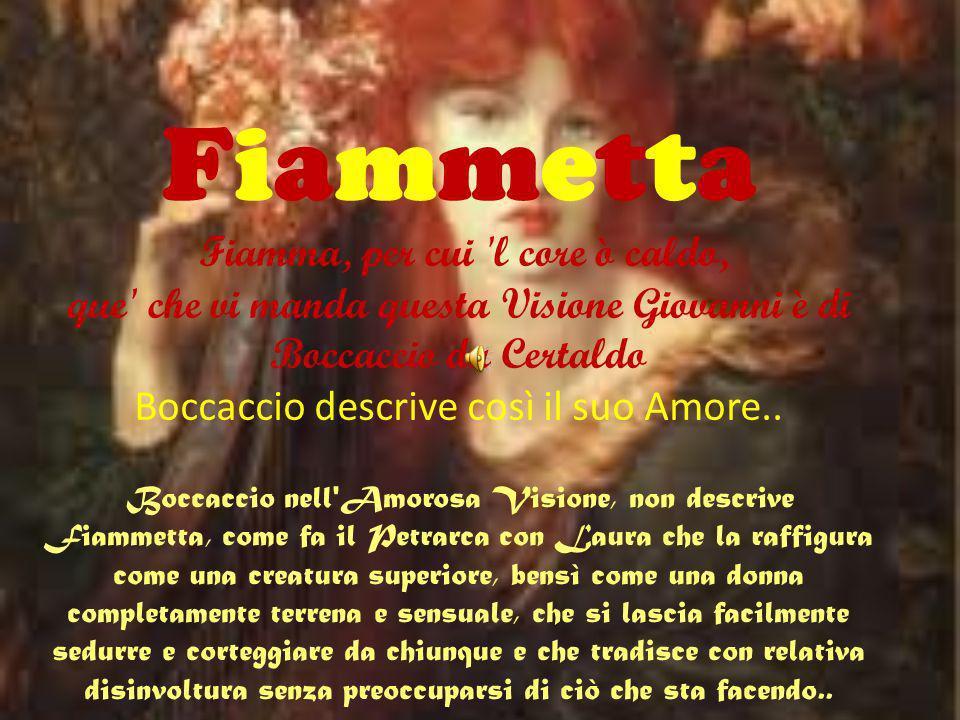 Fiammetta Fiamma, per cui l core ò caldo, que che vi manda questa Visione Giovanni è di Boccaccio da Certaldo Boccaccio descrive così il suo Amore..