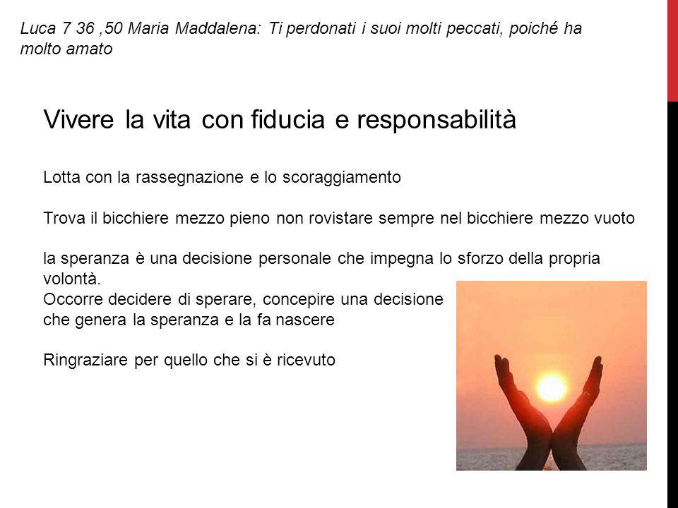 Luca 7 36,50 Maria Maddalena: Ti perdonati i suoi molti peccati, poiché ha molto amato Vivere la vita con fiducia e responsabilità Lotta con la rasseg