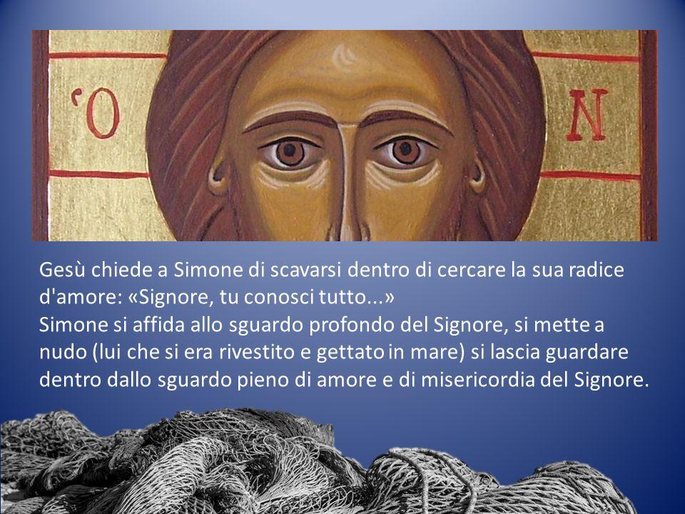 Lo sguardo di Gesù punta lontano, molto oltre la capacità di Simone di esprimersi.