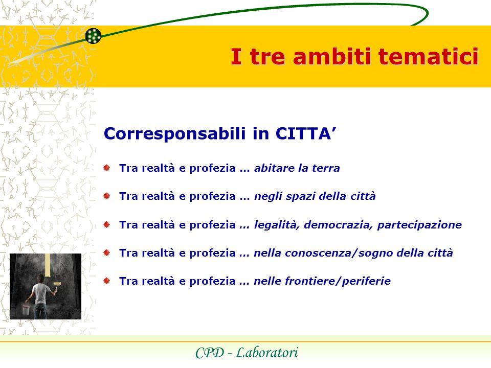 I tre ambiti tematici CPD - Laboratori Corresponsabili in CITTA Tra realtà e profezia...