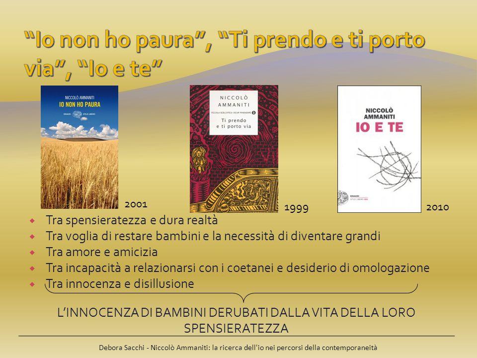 Debora Sacchi - Niccolò Ammaniti: la ricerca dell io nei percorsi della contemporaneità BAMBINIADULTI innocenza; sincerità; onestà; lealtà; spensieratezza; genuinità.