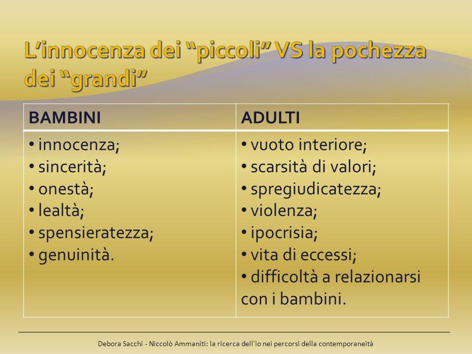 Debora Sacchi - Niccolò Ammaniti: la ricerca dell'io nei percorsi della contemporaneità BAMBINIADULTI innocenza; sincerità; onestà; lealtà; spensierat