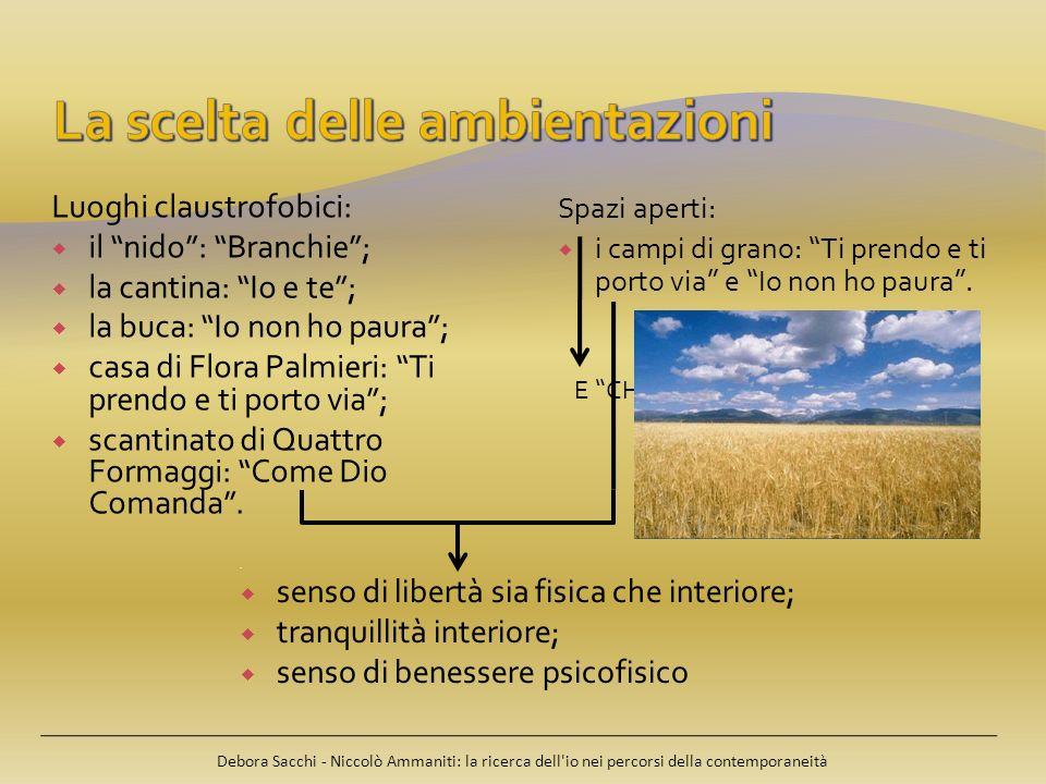 Debora Sacchi - Niccolò Ammaniti: la ricerca dell'io nei percorsi della contemporaneità Luoghi claustrofobici: il nido: Branchie; la cantina: Io e te;