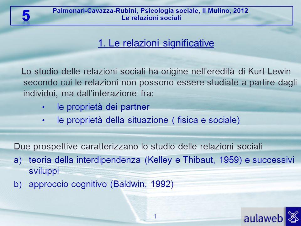 Palmonari-Cavazza-Rubini, Psicologia sociale, Il Mulino, 2012 Le relazioni sociali 1. Le relazioni significative Lo studio delle relazioni sociali ha