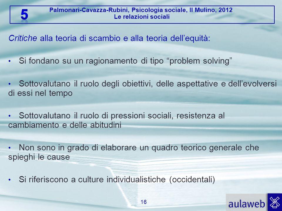 Palmonari-Cavazza-Rubini, Psicologia sociale, Il Mulino, 2012 Le relazioni sociali Critiche alla teoria di scambio e alla teoria dellequità: Si fondan