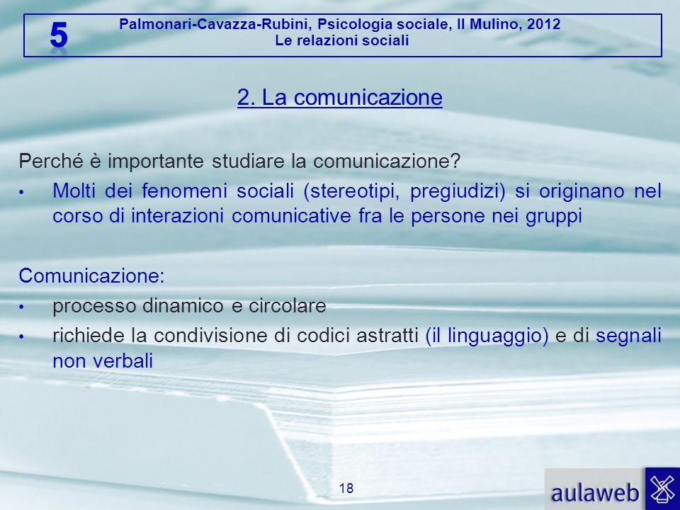 Palmonari-Cavazza-Rubini, Psicologia sociale, Il Mulino, 2012 Le relazioni sociali 2. La comunicazione Perché è importante studiare la comunicazione?