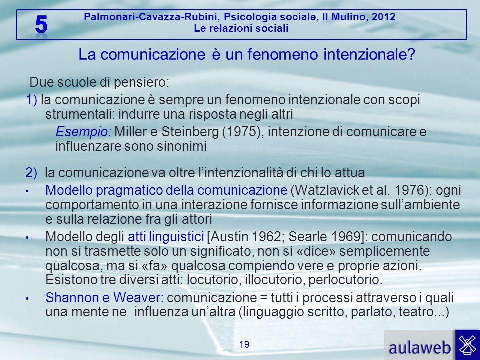 Palmonari-Cavazza-Rubini, Psicologia sociale, Il Mulino, 2012 Le relazioni sociali La comunicazione è un fenomeno intenzionale? Due scuole di pensiero