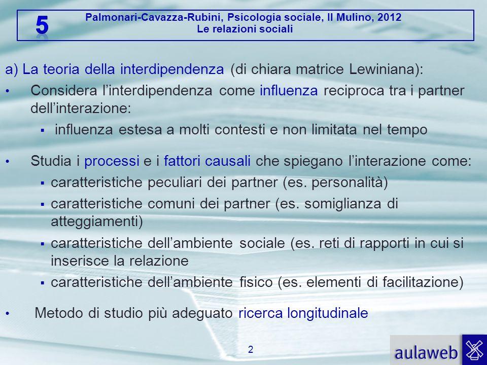 Palmonari-Cavazza-Rubini, Psicologia sociale, Il Mulino, 2012 Le relazioni sociali a) La teoria della interdipendenza (di chiara matrice Lewiniana): C