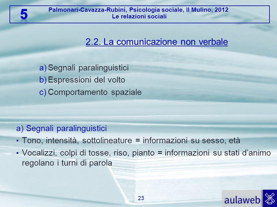 Palmonari-Cavazza-Rubini, Psicologia sociale, Il Mulino, 2012 Le relazioni sociali 2.2. La comunicazione non verbale a)Segnali paralinguistici b)Espre
