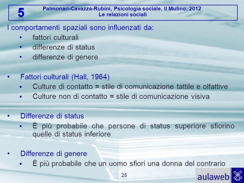 Palmonari-Cavazza-Rubini, Psicologia sociale, Il Mulino, 2012 Le relazioni sociali I comportamenti spaziali sono influenzati da: fattori culturali dif
