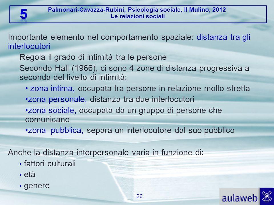 Palmonari-Cavazza-Rubini, Psicologia sociale, Il Mulino, 2012 Le relazioni sociali Importante elemento nel comportamento spaziale: distanza tra gli in