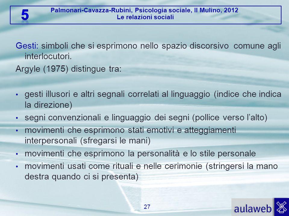 Palmonari-Cavazza-Rubini, Psicologia sociale, Il Mulino, 2012 Le relazioni sociali Gesti: simboli che si esprimono nello spazio discorsivo comune agli
