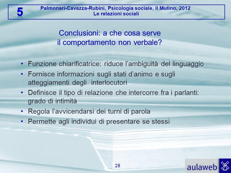 Palmonari-Cavazza-Rubini, Psicologia sociale, Il Mulino, 2012 Le relazioni sociali Conclusioni: a che cosa serve il comportamento non verbale? Funzion