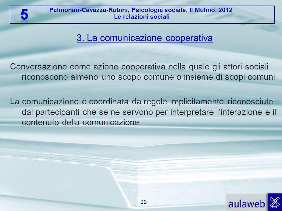 Palmonari-Cavazza-Rubini, Psicologia sociale, Il Mulino, 2012 Le relazioni sociali 3. La comunicazione cooperativa Conversazione come azione cooperati