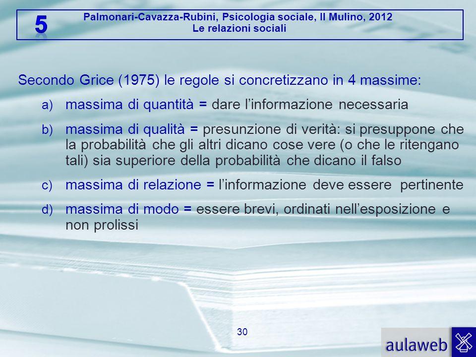 Palmonari-Cavazza-Rubini, Psicologia sociale, Il Mulino, 2012 Le relazioni sociali 30 Secondo Grice (1975) le regole si concretizzano in 4 massime: a)