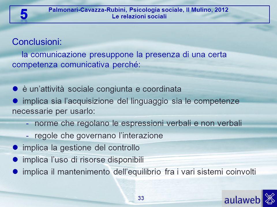 Palmonari-Cavazza-Rubini, Psicologia sociale, Il Mulino, 2012 Le relazioni sociali Conclusioni: la comunicazione presuppone la presenza di una certa c