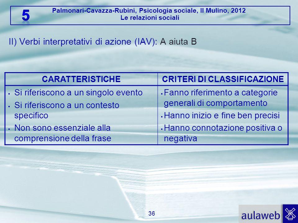 Palmonari-Cavazza-Rubini, Psicologia sociale, Il Mulino, 2012 Le relazioni sociali II) Verbi interpretativi di azione (IAV): A aiuta B 36 CARATTERISTI