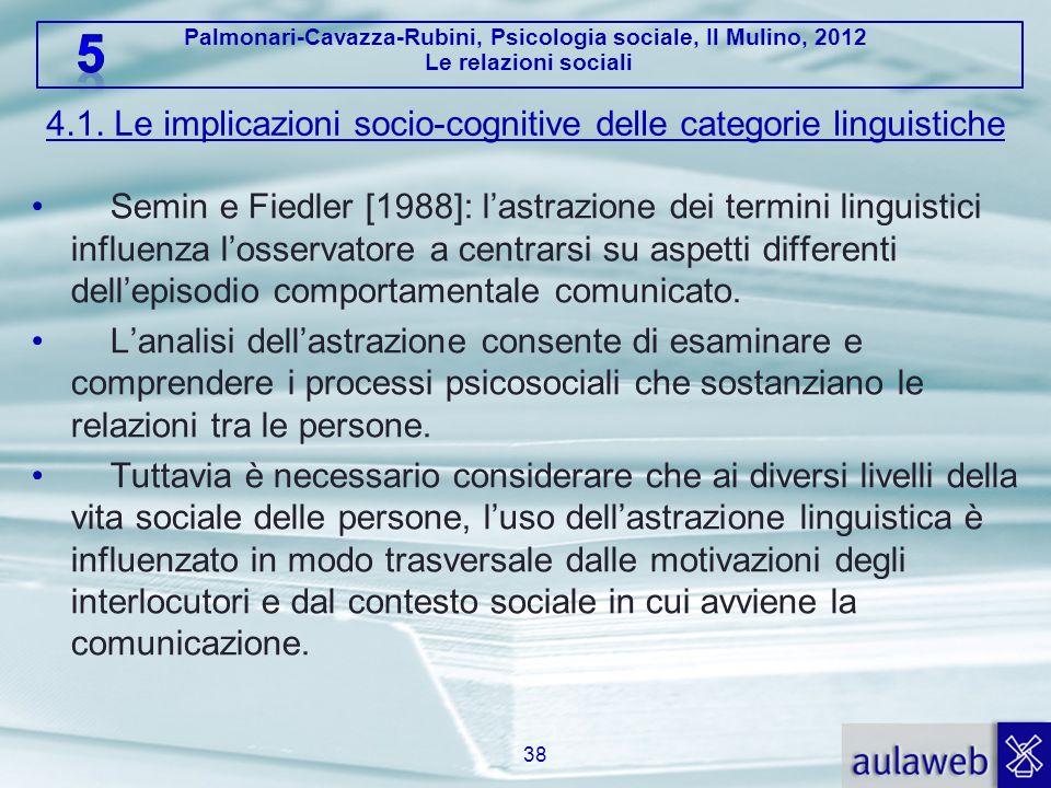 Palmonari-Cavazza-Rubini, Psicologia sociale, Il Mulino, 2012 Le relazioni sociali 4.1. Le implicazioni socio-cognitive delle categorie linguistiche S