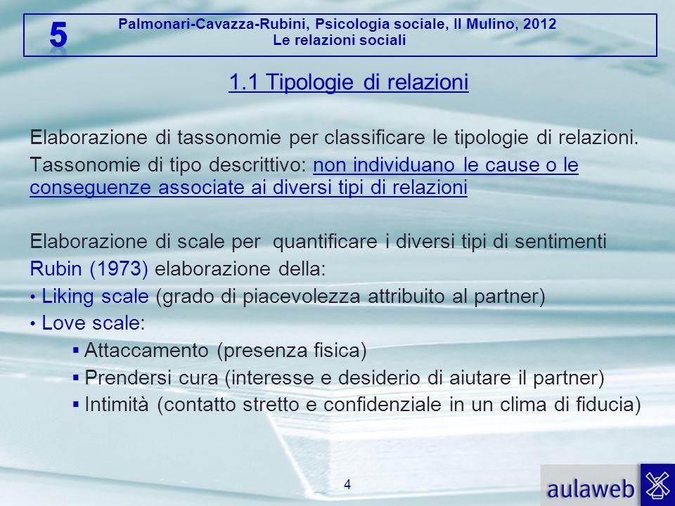 Palmonari-Cavazza-Rubini, Psicologia sociale, Il Mulino, 2012 Le relazioni sociali 1.1 Tipologie di relazioni Elaborazione di tassonomie per classific