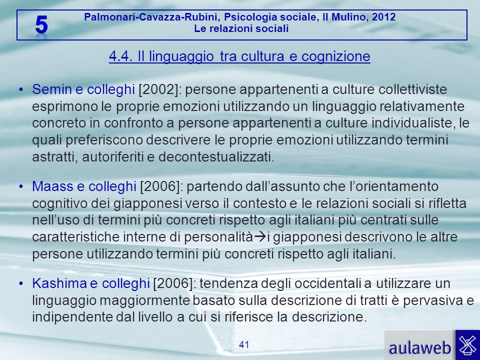 Palmonari-Cavazza-Rubini, Psicologia sociale, Il Mulino, 2012 Le relazioni sociali 4.4. Il linguaggio tra cultura e cognizione Semin e colleghi [2002]
