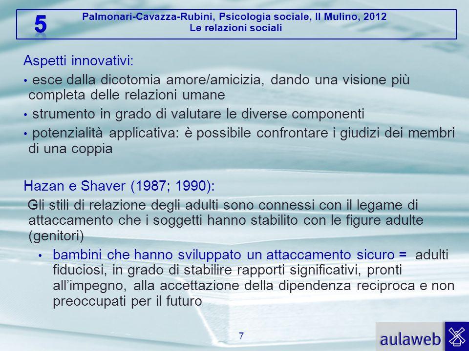 Palmonari-Cavazza-Rubini, Psicologia sociale, Il Mulino, 2012 Le relazioni sociali Aspetti innovativi: esce dalla dicotomia amore/amicizia, dando una