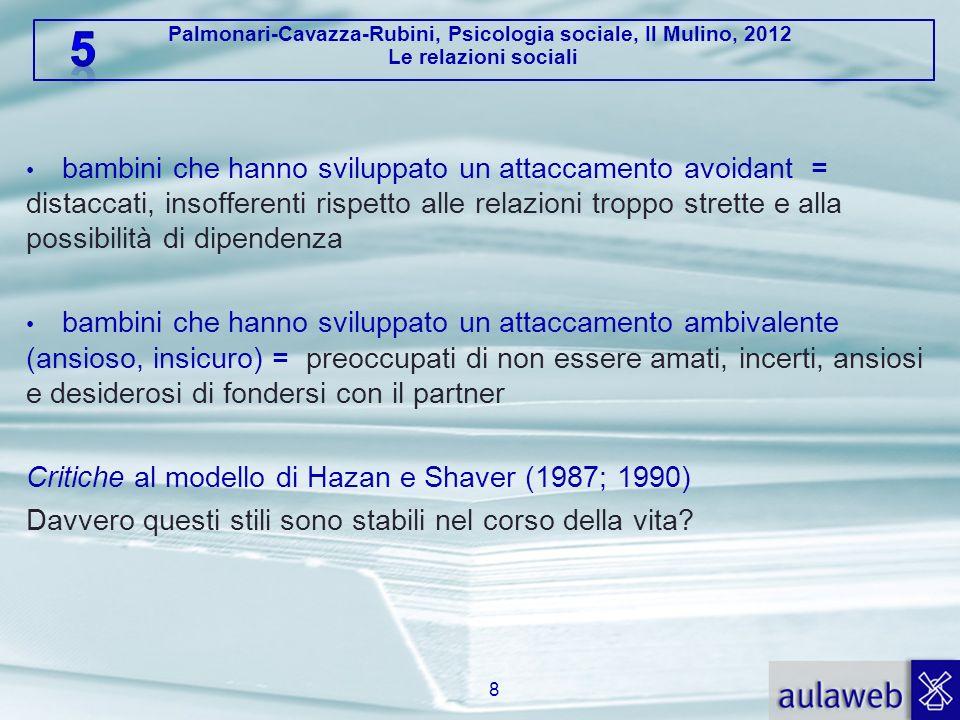 Palmonari-Cavazza-Rubini, Psicologia sociale, Il Mulino, 2012 Le relazioni sociali bambini che hanno sviluppato un attaccamento avoidant = distaccati,