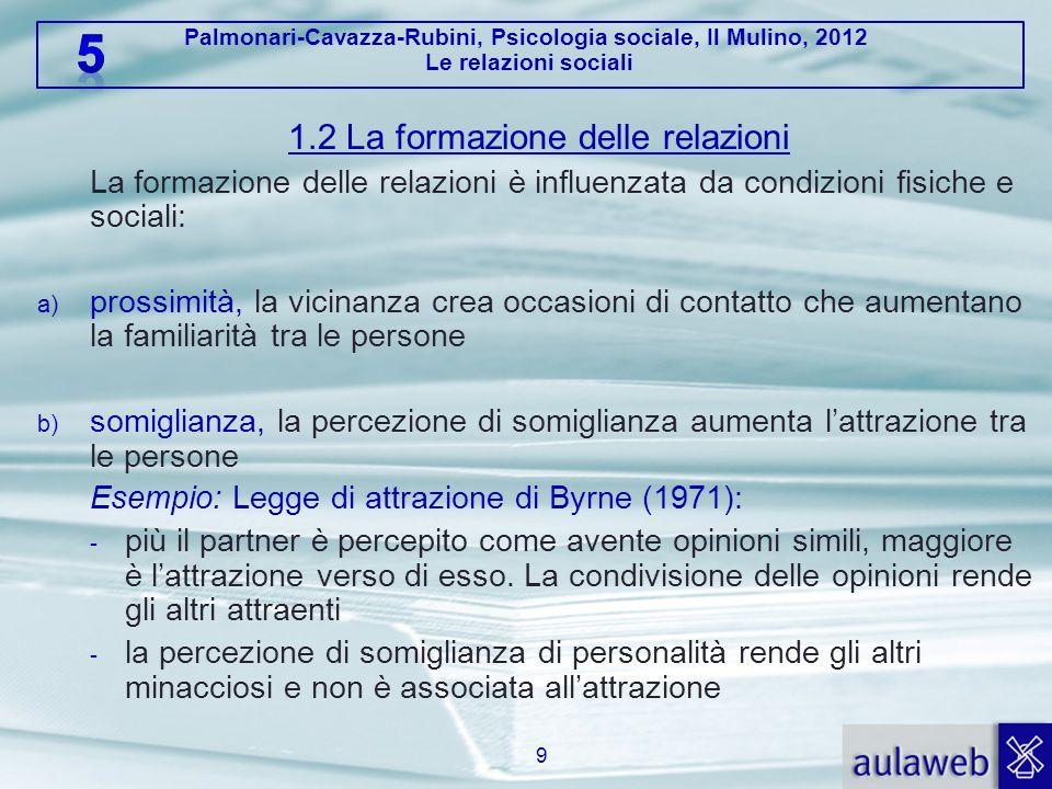 Palmonari-Cavazza-Rubini, Psicologia sociale, Il Mulino, 2012 Le relazioni sociali 1.2 La formazione delle relazioni La formazione delle relazioni è i