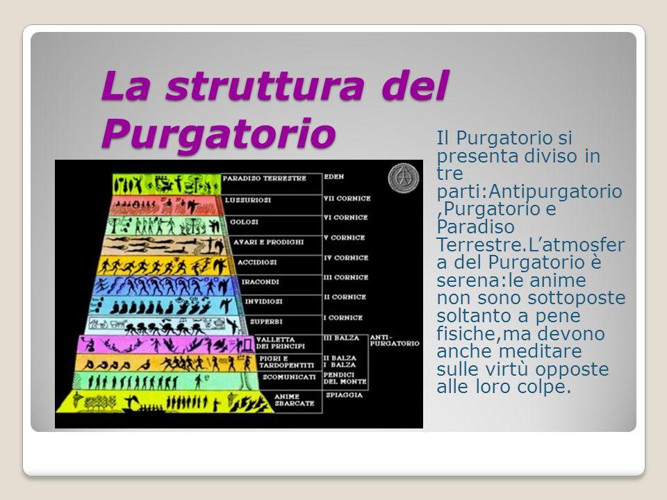 La struttura del Purgatorio Il Purgatorio si presenta diviso in tre parti:Antipurgatorio,Purgatorio e Paradiso Terrestre.Latmosfer a del Purgatorio è