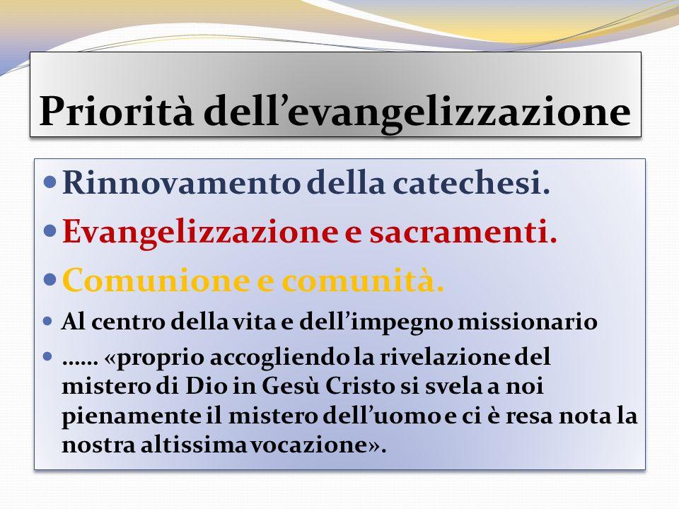 Priorità dellevangelizzazione Rinnovamento della catechesi. Evangelizzazione e sacramenti. Comunione e comunità. Al centro della vita e dellimpegno mi