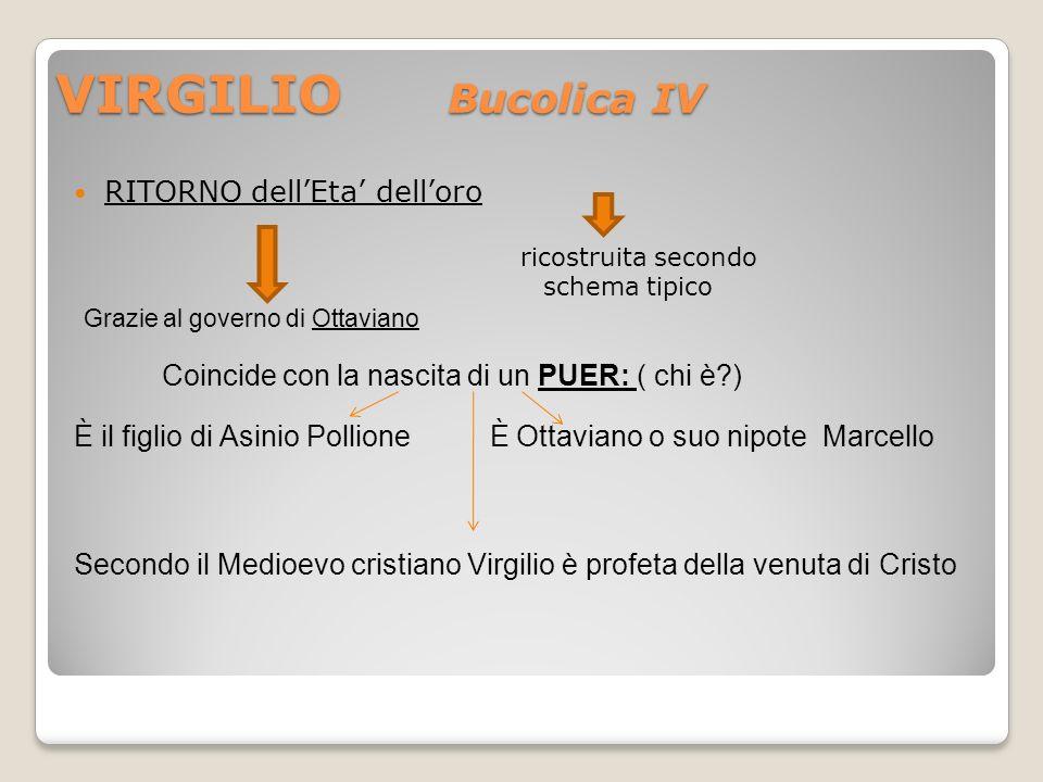 VIRGILIO Bucolica IV RITORNO dellEta delloro ricostruita secondo schema tipico Grazie al governo di Ottaviano Coincide con la nascita di un PUER: ( ch