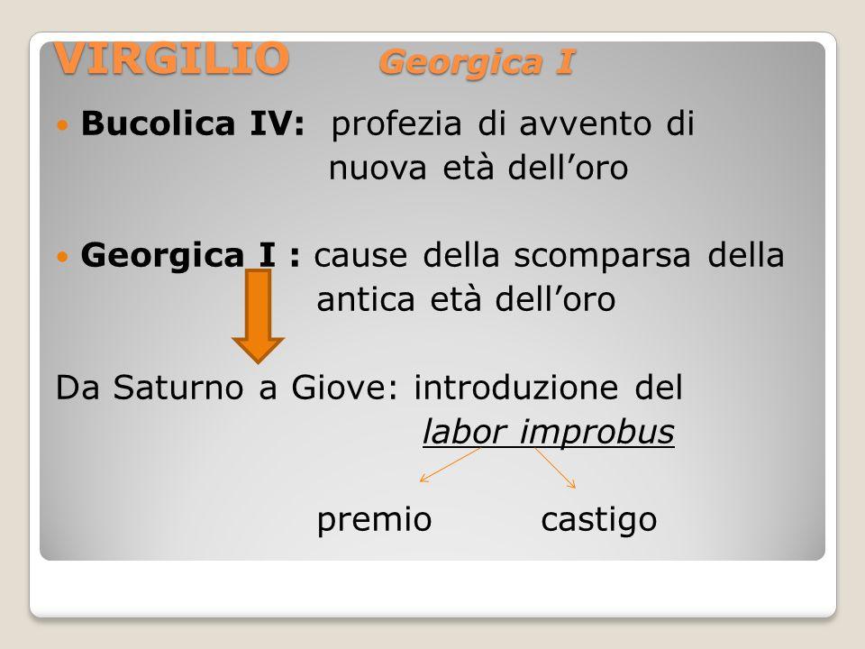 VIRGILIO Georgica I Bucolica IV: profezia di avvento di nuova età delloro Georgica I : cause della scomparsa della antica età delloro Da Saturno a Gio