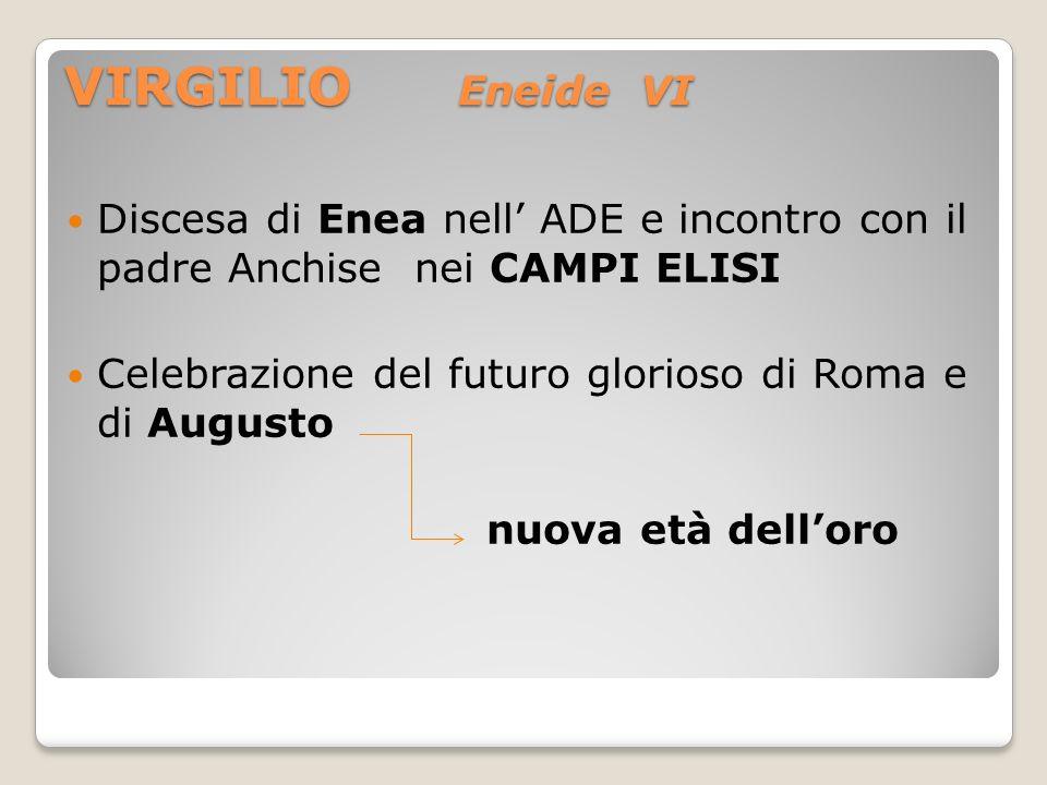 VIRGILIO Eneide VI Discesa di Enea nell ADE e incontro con il padre Anchise nei CAMPI ELISI Celebrazione del futuro glorioso di Roma e di Augusto nuov
