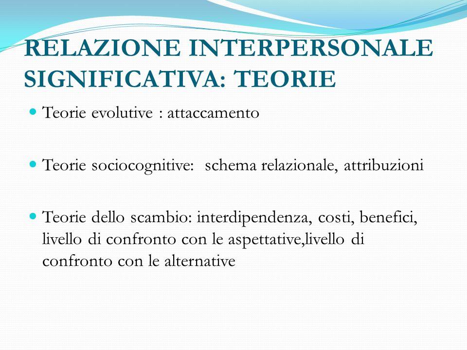 RELAZIONE INTERPERSONALE SIGNIFICATIVA: TEORIE Teorie evolutive : attaccamento Teorie sociocognitive: schema relazionale, attribuzioni Teorie dello scambio: interdipendenza, costi, benefici, livello di confronto con le aspettative,livello di confronto con le alternative